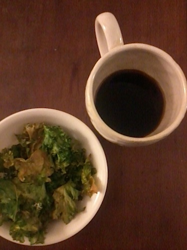 black coffee and kale chips