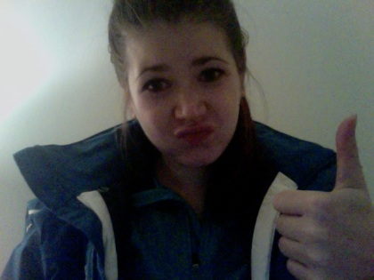 post run duck face thumbs up