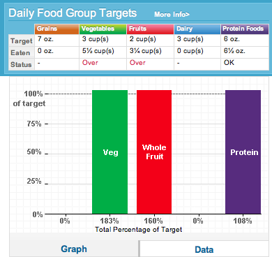 MyPlate food tracker results