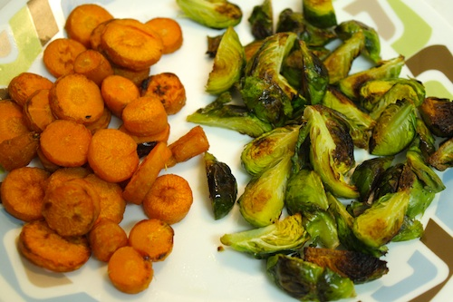 roasted carrots and brussel sprouts