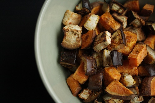 roasted eggplant and sweet potato